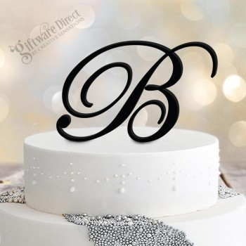 Large Initial Monogram Cake Topper Acrylic or Timber