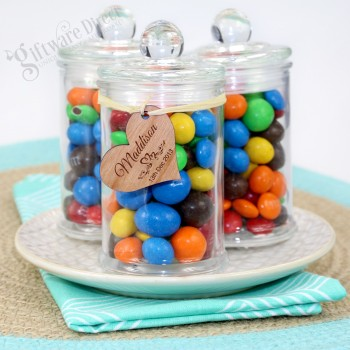 Round Glass Lolly Jar Wedding Favour with Personalised Wooden Tag