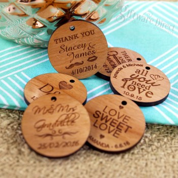 Engraved Round Wooden Wedding Gift Tag with Raffia