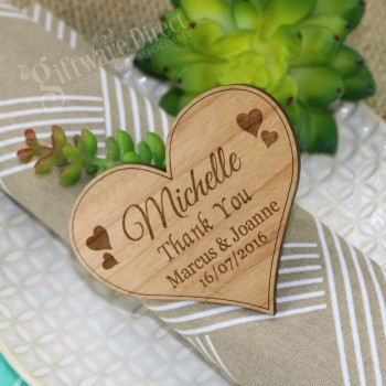 Wooden Heart Wedding Placecard with Magnet