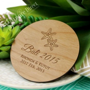 Personalised engraved wooden coasters wedding favours