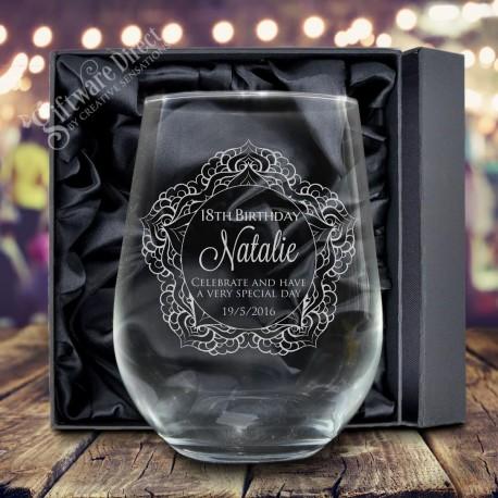 engraved birthday glasses stemless wine glass tumbler gift