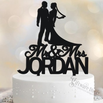 Personalised Bride & Groom Surname Cake Topper Gloss Acrylic