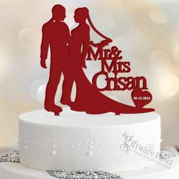 Personalised Sillouhette Acrylic Cake Topper W/ Surname & Date