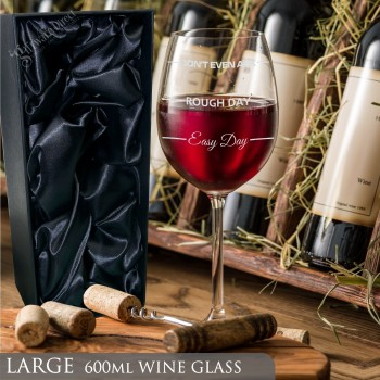 Large 600ml Easy Day Rough Day Mothers Day Wine Glass Birthday Gift for Mum