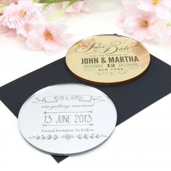 "Engraved Round Acrylic Wedding ""Save The Date"""
