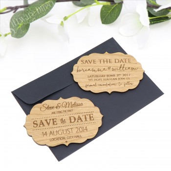 laser engraved wooden save the date bamboo stationary vintage