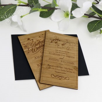 11B Laser Engraved Timber Wedding Invitation Cards