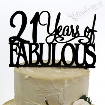 21 & Fabulous Birthday Acrylic Cake Topper Any Age