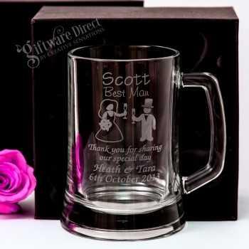 engraved wedding beer stein for groomsman gift - beer mug - glass