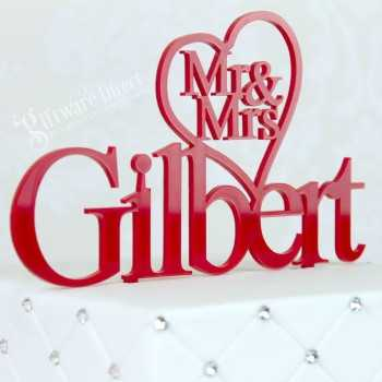 Personalised Heart On Surname Acrylic Cake Topper W/ Surname