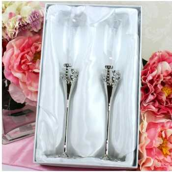 personalised engraved love rhinestone bling toasting flutes