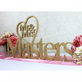 Mr&Mrs Heart Surname personalised wooden letters cutout name