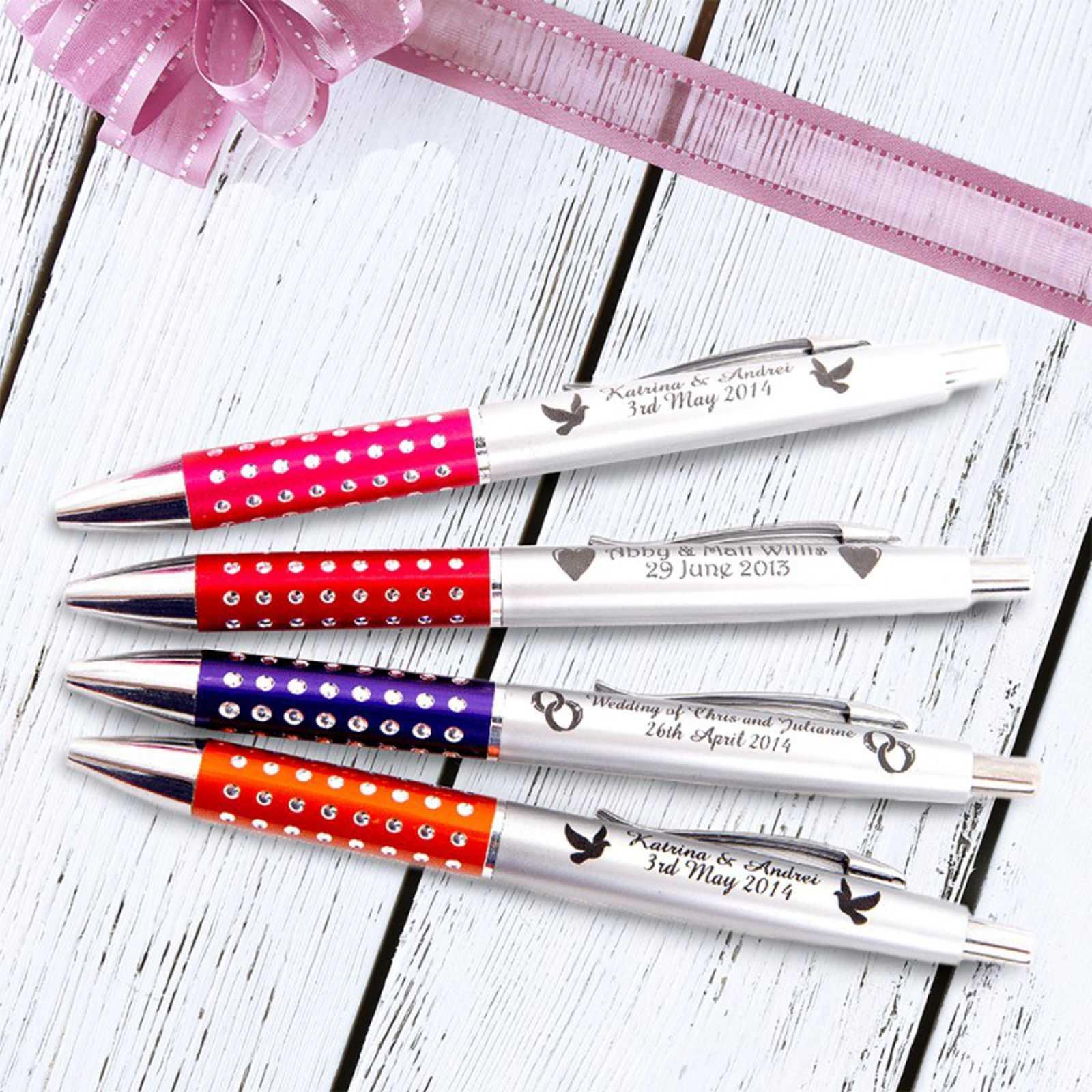 personalised engraved wedding pen sparkle plastic pen favour