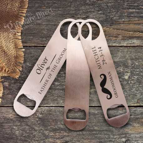 engraved stainless steel bottle opener groomsman gift father of the bride