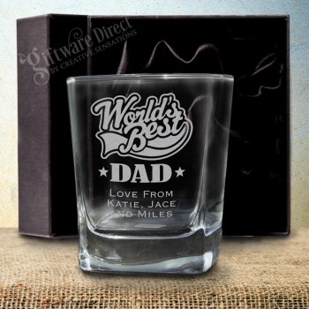 Fathers Day Engraved Quartet Scotch Whiskey Glass