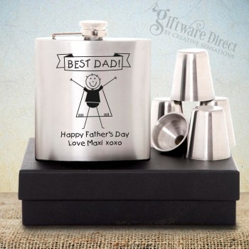 Fathers Day 6oz Silver Hip Flask Gift Set Personalised