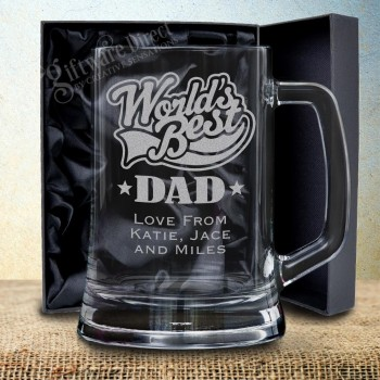 Fathers Day Engraved Beer Mug 500ml Personalised Engraved