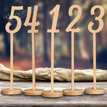 Tall Wedding Table Numbers on Stick with Solid Base