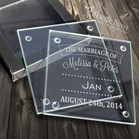 engraved wedding coaster glass favour drinking coaster with optional gift box