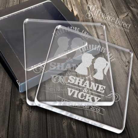 Personalised Acrylic Wedding Coaster Favours Engraved