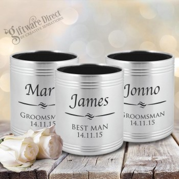 Engraved stainless steel stubby holder groomsman gift