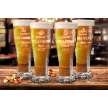 Set of 4 Schooner Glasses Man Cave Bar Home Brew Designs Engraved