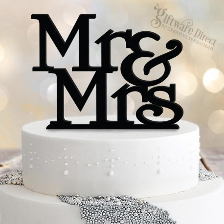 Mr & Mrs stacked acrylic wedding cake topper laser cut