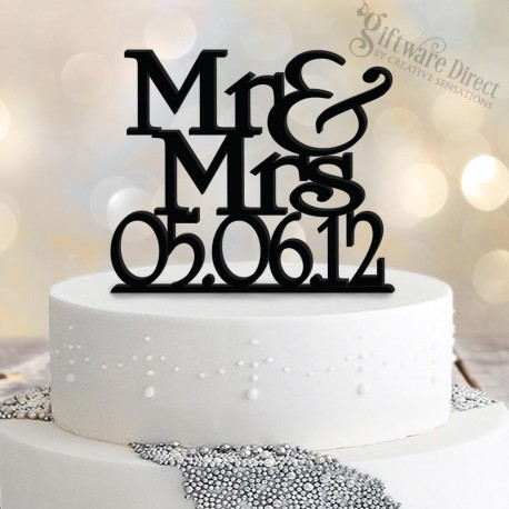 Personalised Mr & Mrs Wedding Date Cake Topper custom made acylic Australia