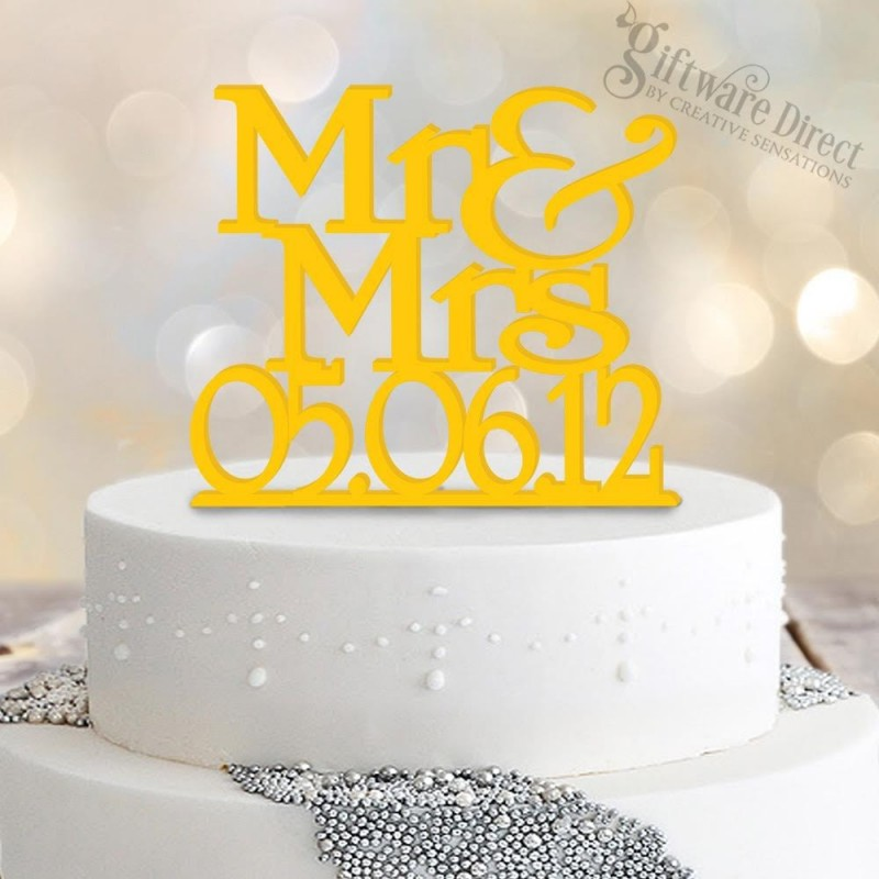 Personalised Mr & Mrs wedding date cake topper custom made australia