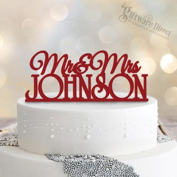 Mr&MRs personalised formal surname wedding cake topper bamboo timber acrylic