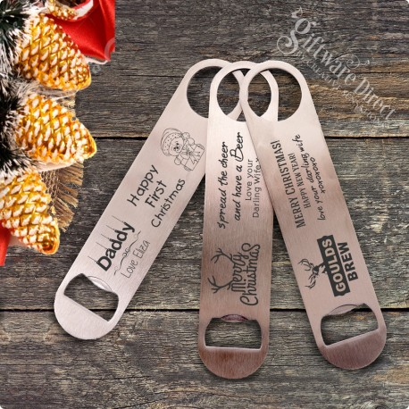 personalised engraved christmas stainless steel bottle opener gift present