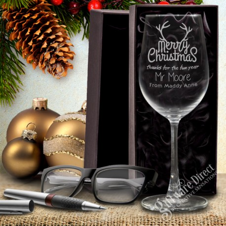 Personalised Christmas Teacher Thank You Wine Glass Gift Box Present