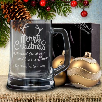 Personalised Christmas Beer Mug Engraved with Gift Box Option