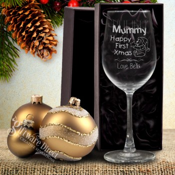 Engraved Crystaline Christmas Wine Glass 350ml Personalised