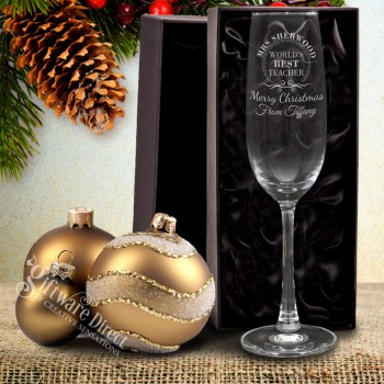 Engraved Christmas Champagne Glass 210ml Personalised