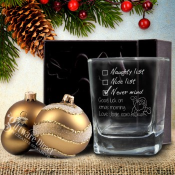 Personalised Christmas Whiskey Scotch Glass Engraved Unique Gift Present