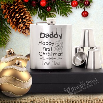 Personalised Stainless Steel Silver Hip Flask Gift Set with unique christmas designs