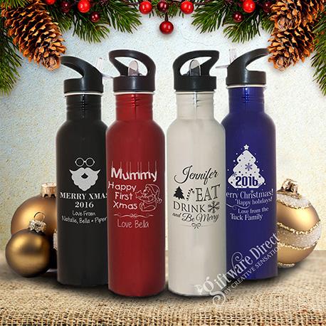 Christmas Engraved 800ml Stainless Steel Drink Bottle