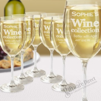 Set of 6 Personalised Wine Glasses