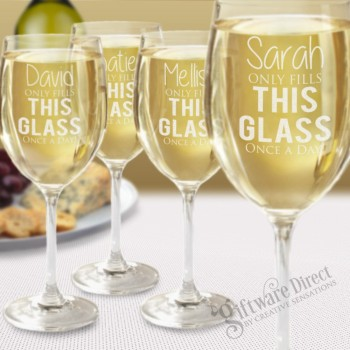 Set of 4 Crystaline Wine Glasses Laser Engraved