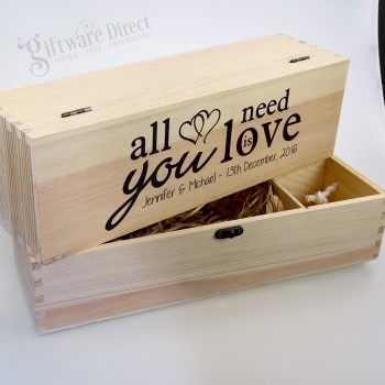Personalised Wooden Wedding Wine Box - Natural Pine