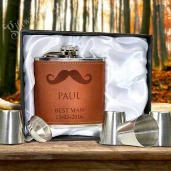 engraved leather hip flask brown gift set for groomsman gift