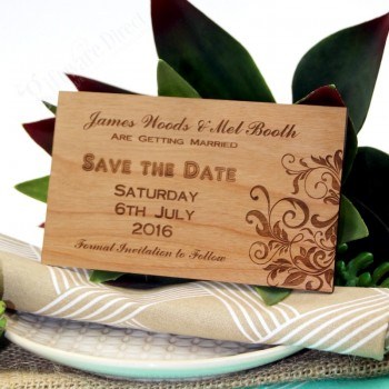 Engraved Wooden Rectangle Save The Date Wedding Card