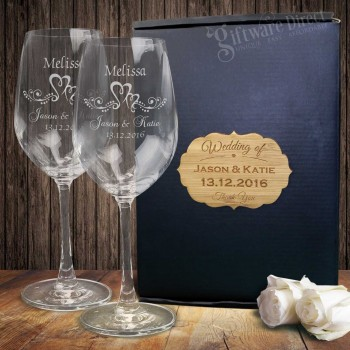Double Wine Glass Set Gift Boxed + PLAQUE Engraved Wedding