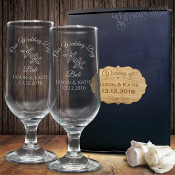 Double Footed Beer Glass Set Gift Boxed Engraved Wedding