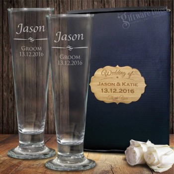 Double Pilsner Glass Set Gift Boxed Engraved Wedding