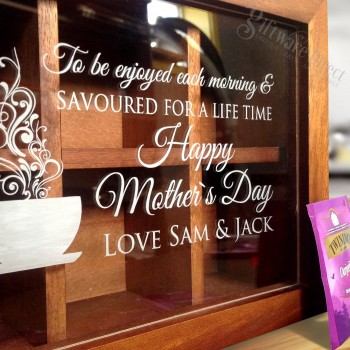 Personalised Wooden Tea Box Storage For Mothers Day Engraved