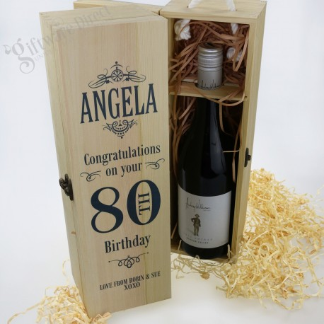 Personalised Birthday Wooden Wine Box Packaging with Handle Raw Pine