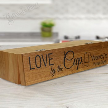 Mothers Day Printed Bamboo Tea Box with Personalised Lid